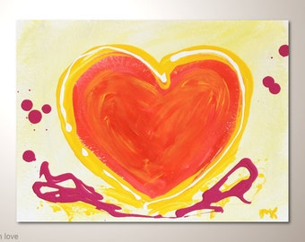 """Cheap heart fine art painting on watercolor paper:""""In love"""" -12x9 inches. Original abstract art,wall hanging for frame"""