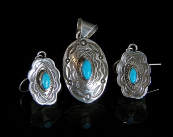 Sleeping Beauty Turquoise. Ring size 7.5, Pendant, and Earring Set; Sterling Silver, Handmade, #PRE486