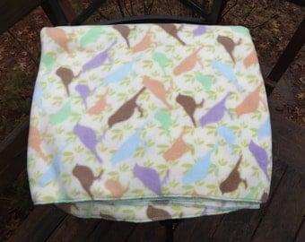 Pastel Birds Fleece Extra Large Lap Blanket - Bed Topper, Stadium Blanket. Throw -  Peach, Lavender, Blue, Brown