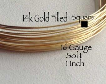 15% Off Sale! 14K Gold Filled Wire, SQUARE, 16 Gauge, 1 Inch, Soft, WHOLESALE