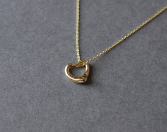 Tiny heart gold necklace Gold plated over 925 Sterling Silver