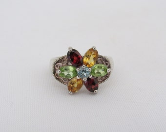 Vintage Sterling Silver Mixed Gemstone Cluster Flower Ring Size 8
