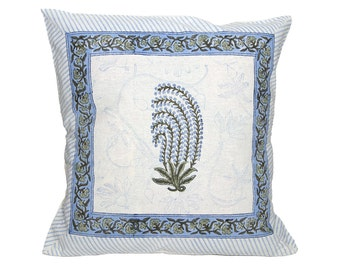 Cushion Cover - BLOCK PRINTED - Sky Blue Motif