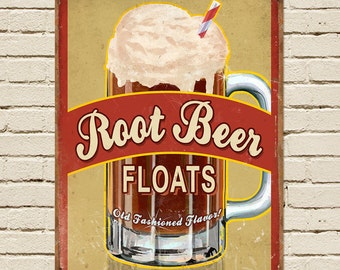 Root Beer Floats Old Fashioned Metal Sign - #56847