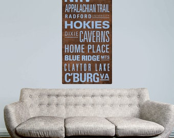 New River Valley Virginia Words Wall Decal - #68772