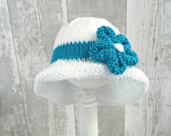 Baby Summer Hat, Flower Hat, Baby Floppy Hat, Sun Hat Baby, Newborn Sun Hat, Wide Brim Hat, Baby Beach Hat, Baby Girl Gift Ideas