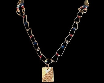 Right Wing Jewelry Bronze Wire Bracelet with Red, White & Blue Swarovski Crystals #25