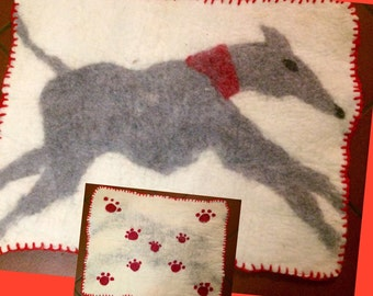 Handmade carpet in organic boiled wool, naturally dyed, with a greyhound