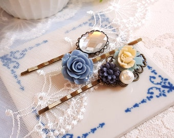 Set of 3 floral bobby hair pin  Rhinestone brass filigree Blue flower