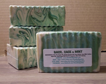 Basil, Sage & Mint - Natural Soap Bar - 5-6oz. Each