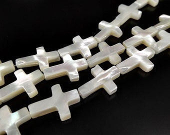 1 Strand 23pcs 18x13mm Nature White MOP Trochid Shell Top Drilled Mother Of Pearl Cross Beads Shelll Beads Strand