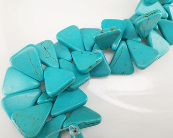 Full Strand Approx 90 pcs 18x15mm Howlite Turquoise Flat Triangle Beads