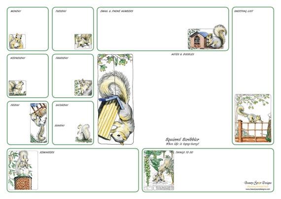 A3 Squirrel Scribbler Desk Planner