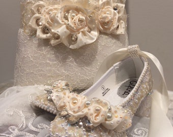 Elfina Boutique Boston Dress Girl Shoes, Flower Girl, Wedding, First Communion, Birthday, Pageant, Hand Embellished with Fine Laces, Pearls,