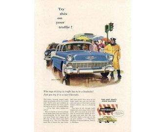 vintage newspaper ad for a 1956 Chevrolet poster - 19