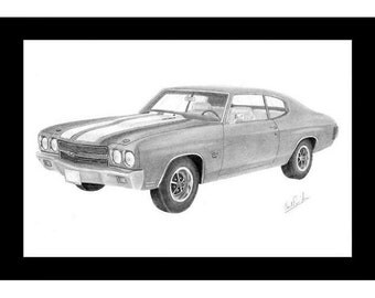 Pencil drawing of a 1970 Chevelle
