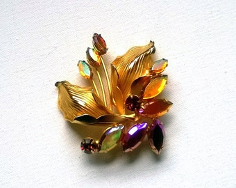 Vintage Brooch Flower and Autumn Leaves Crystal 1950s