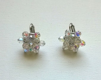 Jewelcraft Earrings Crystal Clip On 1950s Vintage