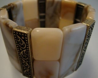 Bracelet Vintage Mother of Pearl Cream Copper Resizing Ethnic Ornament