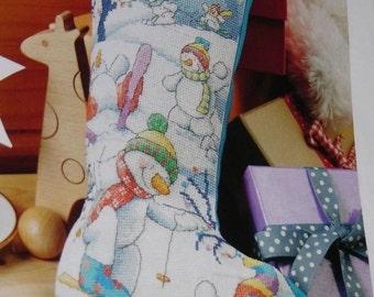 Snowman cross stitch Christmas stocking