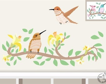 """Wall Decal """"Hummingbird"""" personalizable wall sticker with color choice nursery baby  children's room decorations"""