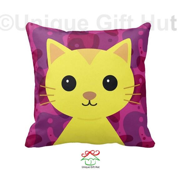 Cat Pillow-Cute Kitten Throw Pillow-Throw Pillow Cover-Home Decor-Kawaii Decorative Pillow ...