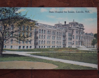 Unused Antique Postcard State Hospital For Insane in Lincoln, Nebraska