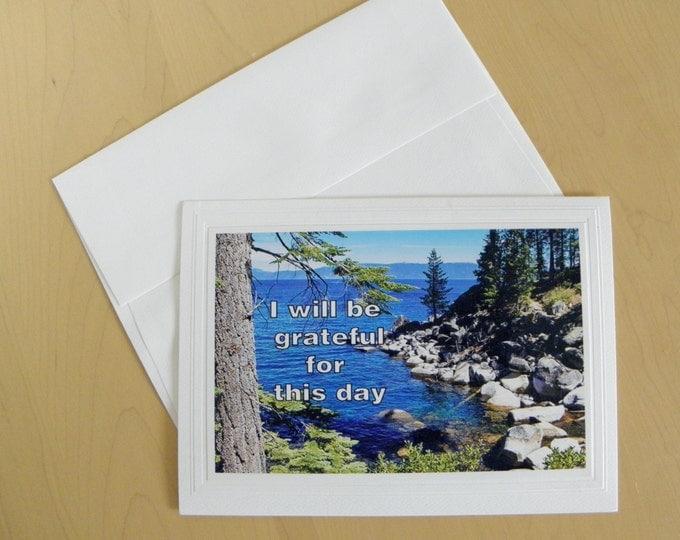 GRATITUDE Photo Card ships FREE, Handmade, Inspirational Text, Blank Inside Photo Stationary, Embossed Card Stock, Coordinating Envelope