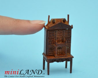 """1:48 1/4""""  Dollhouse for dollhouse WALNUT with table 1/48 Top Quality"""