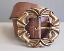 Chunky brown leather belt/ornate buckle/boho belt/hippie belt/folk belt/large leather belt/steampunk belt/leather belt/gypsy belt/brown belt