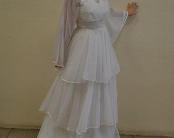 1970's White Layered Wedding Dress