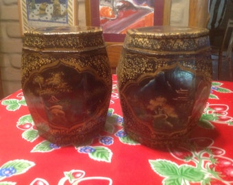 Vintage pair of hand painted wooden lidded octagonal Asian ginger jars or canisters.
