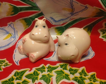 Vintage Fitz and Floyd ceramic hippo salt and pepper shakers- Japan