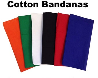 """Assorted Solid Bandanas -  27"""" x 27"""" - 12 Pack (extra large) 100% Cotton"""