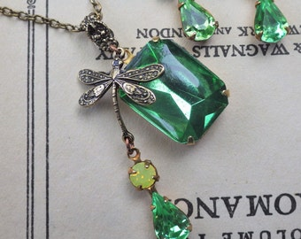 Peridot Green Pendant ~ Art Deco ~ Dragonfly Jewelry ~ Chartreuse Green ~ Necklace ~ Green Yellow ~ Vintage Glass ~ by LadyofTheLakeJewels