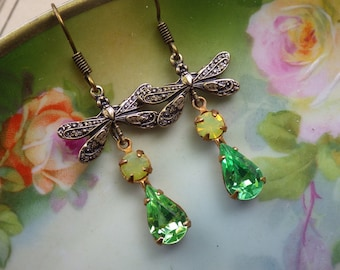 Green Dragonfly Earrings ~ Small ~ Art Nouveau ~ Small ~ Green Yellow Earrings ~ Vintage Glass ~ by LadyofTheLakeJewels