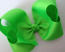 X-Large 6 inch Neon Green Hair Bow