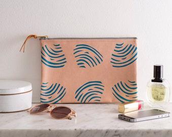 SALE*** Screen Printed Clams Shells Pink Blue Seaside Leather Clutch Purse Bag Handbag 50% off!