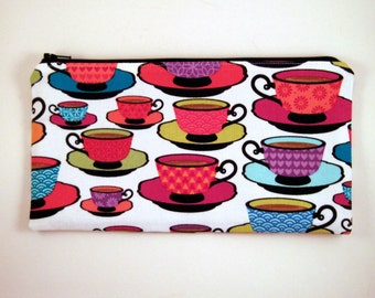 Tea Cup Zipper Pouch, Make Up Bag, Gadget Bag, Pencil Pouch