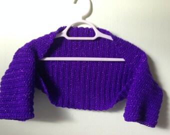 Sparkly Purple Shrug, Glitter Purple Shrug, Sparkly Yarn Bolero, Crop Cardigan, Sparkly Prom Bolero, Glittery Prom Bolero, Crocheted Bolero
