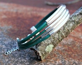 Leather Long Silver Tube Bangle Cuff Bracelet - 5 Leather Cords Boho Leather Cuff Bangle - Stackable Bracelet-Choose size and color- #6025