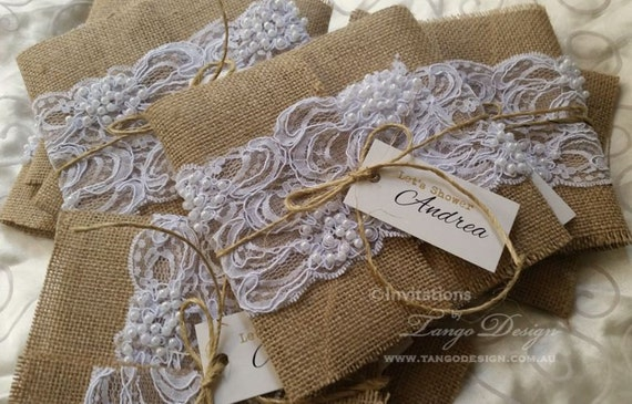 Wedding Invitation With Lace: BURLAP And LACE Wedding Invitations. 50 RUSTIC Invitations