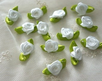 white Satin Ribbon Flower Appliques -36pcs