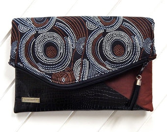 Fold Over Clutch Purse,  Fabric & Leather Fold over Clutch, Handmade Clutch, Aboriginal Fabric Clutch, Brown and Black Clutch Purse