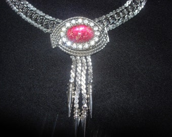 Vintage Silvertone Necklace with Pink Stone