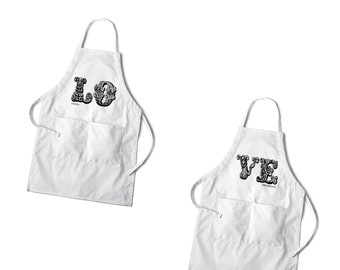 Personalized Couples Apron Set - Grilling Custom Couples Aprons - Set of Aprons - GC1378 LOVE