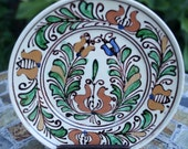 Romanian Transylvanian Hungarian Korond Decorative Corund Plate in Brown Green Blue White Cream Colors