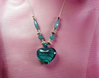 Turquoise Glass Heart Pendant Necklace;Statement Necklace;Women's Jewelry,Teen Jewelry,Birthday,Anniversary,Christmas Gift,Romatic Jewelry