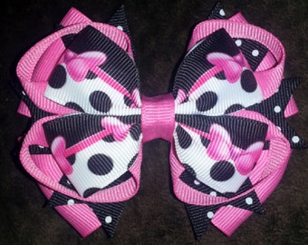 Minnie Mouse Handmade Pink Black Boutique Bow
