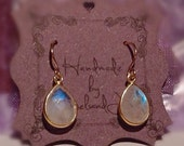 Rainbow Moonstone and Gold Vermeil Bezel Earrings/ Bride or Bridesmaid Nature Insired Minimalist Bridal Earrings/ Moonstone Drop Earrings